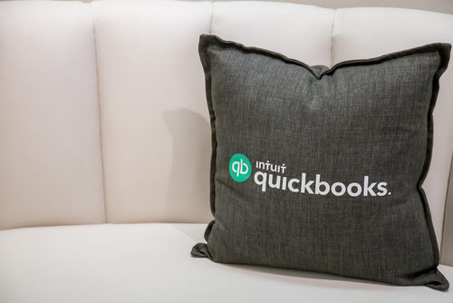 pillow with QuickBooks logo